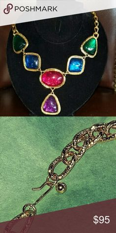 Kenneth Jay Lane Caprianti Collection Necklace Chunky 18kt Gold Plated Necklace with Poured Resin Cabochons in Purple, Red, Blue, and Green.  This piece is in Great Condition and Stands out from the Crowd! Kenneth Jay Lane Jewelry Necklaces