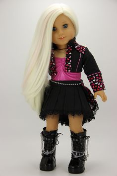 Your place to buy and sell all things handmade Handmade 18 inch doll clothes - Black and hearts 5 piece steam punk outfit All American Girl Dolls, American Doll Clothes, Girl Doll Clothes, Barbie Clothes, Punk Outfits, Doll Outfits, Doll Dress Patterns, 18 Inch Doll, Ag Dolls