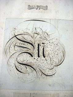 This flourished fraktur capital letter M was pasted into a sketchbook  of romantic and medial lettering (traces, copies?) that some wonderful  British gentlemen put together during the nineteenth century. Showed  to us in the fantastic Monday afternoon sessions with Michael Twyman  at the University of Reading.