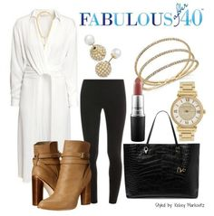 Leggings paired with a long white shirt and booties is a striking combination. | Fabulous After 40