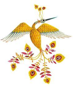 Marie Desbons: OISEAUdefeu  #bird #illustration #birds #yellow