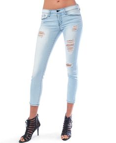 Flying Monkey Platinum Jeans Break Time Distressed Light Denim Blue Cropped Skinny Jeans in Clothes | Piin | www.ShopPiin.com