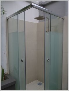 Steel Frame Shower Screen With Frosted Glass