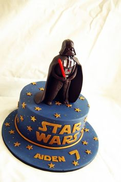 For my friends' son. Chocolate mud cake layered and coated in dark chocolate ganache then covered in fondant. Darth Vader is hand made with gumpaste.