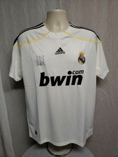 36d9daac4af Adidas Bwin MCF LFP Real Madrid Football Raul  7 Mens Medium White Jersey   adidas