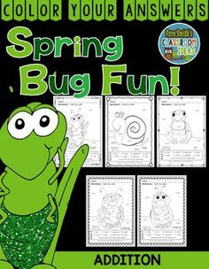 #Addition Spring Bug Fun with Numbers - Color Your Answers Printables for some Spring Math Fun in your classroom! This math resource includes: FIVE No Prep Printables that can be used for your math center, small group, RTI pull out, seat work, substitute days or homework, answer keys included too! #TPT #FernSmithsClassroomIdeas