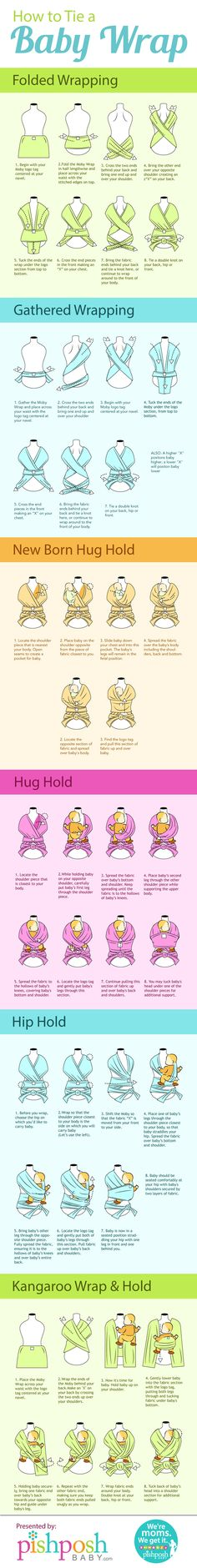 How to Wrap a Moby Baby Wrap Infographic. Topic: parenting, mother, infant, newborn, breasfeeding, moms.