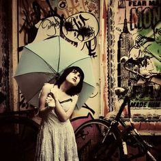 umbrella + bike + graffiti