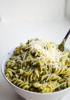 AVOCADO PESTO RIGATONI. My favorite pesto mixed with an avocado for a creamy + healthy pasta sauce.