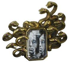 """Medusa"" brooch of gold, morganite, ruby and miniature painting by Salvador Dali, 1941."