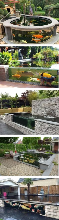 For your inspiration, below we share you dozens of admirable above-ground koi pond ideas that you can use for your ultimate reference. Swimming Pools Backyard, Ponds Backyard, Backyard Landscaping, Pond Design, Landscape Design, Garden Design, Front Yard Flowers, Fish Pond Gardens, Diy Garden Fountains