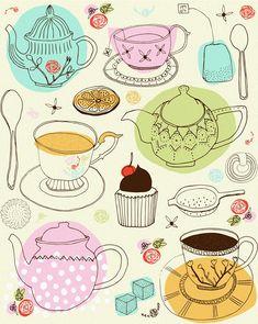 High Tea by Zoe Ingram Tee Illustration, Tee Kunst, Tea Art, Doodle Sketch, Surface Pattern, Surface Design, Food Illustrations, Star Wars Art, Pattern Wallpaper