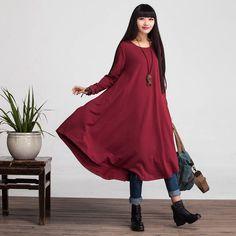 Loose Fitting Cotton Long Shirt Blouse Dress for Women  - Long Sleeved Women Clothing
