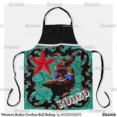 Rodeo Cowgirl, Western Cowboy, Western Kitchen Decor, Rodeo Events, Bull Riding, Summer Bbq, Artwork Design, Westerns, Apron