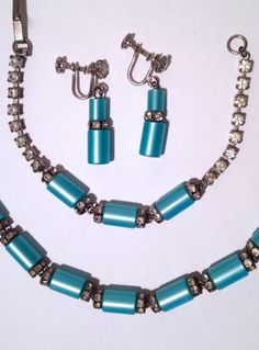 Rhinestone and Turquoise Moonglow Lucite Parure by WhirleyShirley
