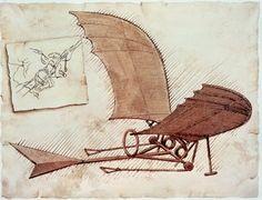 Flying Machine Stretched Canvas Print by Leonardo da Vinci at Art.com