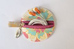 Small coin purse, ear bud/earhphone case, holder with keyring, zipped purse in Sunshine on Etsy, £5.00