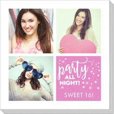 Personalized Party All Night Photo Napkins