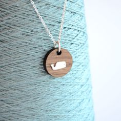Adorable! :: Walnut & Sterling Whale Necklace