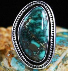 Leonard Nez Gem Grade Peacock Spiderweb Turquoise Shadowbox Design Overlay Ring #LeonardNez This spectacular ring features a gorgeous and rare gem grade natural Peacock turquoise gem stone.