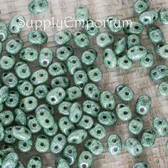 Ceramic Laurel Green Czech Super Duo 2 hole Beads, 2.5 x 5mm oval beads - 16 grams - Ceramic Laurel Green Superduo Beads, 4966