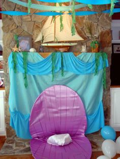 Lots of cute pictures and ideas. Love this-Grotto over the fireplace with Ariel's clam shell! Perfect for a Little Mermaid party!