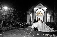 portrait of newlyweds outside bram leigh chapel at night