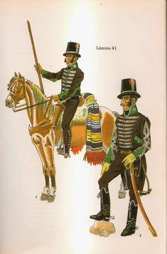 Spanish; Seville Volunteers Lancer and Officer of the Lanceros de Carmona c.1808