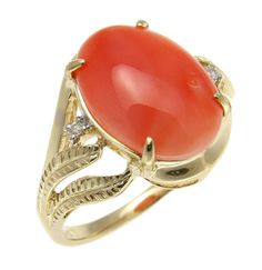 "Brand new genuine natural pink coral (not treated, not enhanced) & diamond ring set in solid 14k yellow gold (not plated, not bonded) - Face size: 15.65mm (approx. 5/8"") wide and 14.75mm (approx. 9/16"