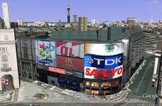 Modelação 3D de Picadilly Circus, no Reino Unido.  Pode visitar este nosso trabalho na camada earth do google maps.