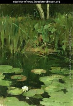 Theodore Robinson - Water Lilies - painted while in Giverny with Monet