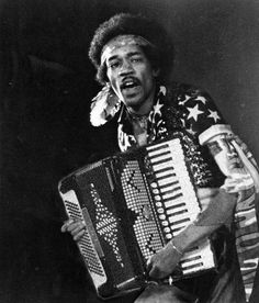 Jimi  Hendrix... the famous accordion player -- NOT! - Honest folks, this is just a spoof!