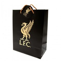 Large Liverpool FC gift bag with metal eyelets, made of card and featuring the club crest printed on the front. FREE DELIVERY on all of our football gifts Liverpool Fc Gifts, Uk Football, London Football, Football Accessories, Football Memorabilia, Soccer Gifts, Bags Uk, Gold Print, Online Gifts