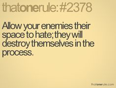 absutely!!   allow your enemies their space to hate; they will destroy themselves in the process
