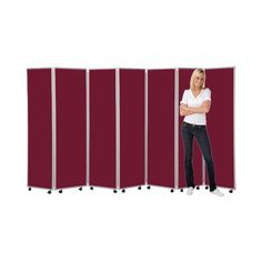 Mobile Folding Room Divider, 7 panel, 1800mm high, Nyloop Fabric