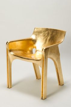 "Golden Magistretti Karma Chair  ""Let's start the week with featuring a Golden Chair"" I thought and picked one of my Golden Chair Pinterest Board: The Golden Magistretti Karma Chair by Basel, Switzerland based Okay Art. Actually it is a gilded Selene Chair by Vico Magistretti."