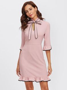 Pink Ruffle Trim Tie Neck With Black Lining Dress