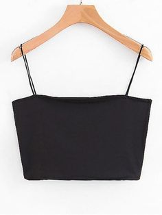Spaghetti Strap Top Cropped - Preto S Diy Crop Top, Cute Crop Tops, Black Crop Tops, Cropped Tank Top, Loose Tank Tops, Crop Tank, Cami Tops, Crop Top Outfits, Cute Outfits