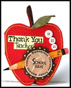 Teacher card  Apple shaped card by  Kim  http://thecuttingcafe.typepad.com/the_cutting_cafe/2009/08/apple-shaped-card-template-cutting-file.html