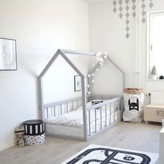 Big kid room Love the house frame bed! is part of Toddler floor bed - Toddler Floor Bed, Floor Beds For Toddlers, House Beds For Kids, Toddler Beds For Boys, Baby Floor Bed, Childrens Beds, Diy Beds For Kids, Toddler Cabin Bed, Toddler Bed On Floor