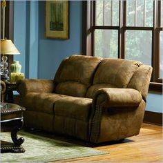 Coaster Brown Microfiber Reclining Loveseat - 550152 I would buy this for my Living Room if I won 150 dollars from Cymax. #cymaxpintowin