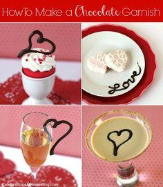 how to make a chocolate garnish #valentinesday #diy #chocolate