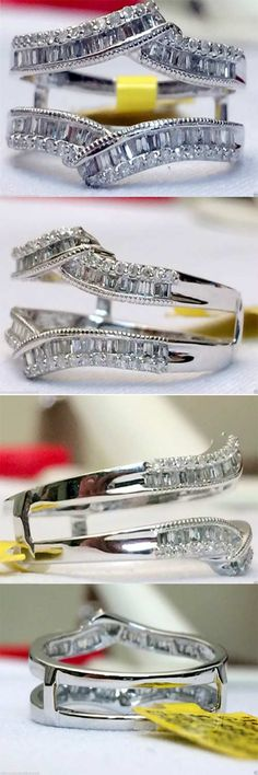 14kt White Gold Baguette Round Diamonds Ring Wrap Guard Solitaire Enhancer (0.50ctw)...(RG331662606355).! Price: $602.99 #gold #diamonds #ringguard #wrap #enhancer #fashion #jewelry #love #gift