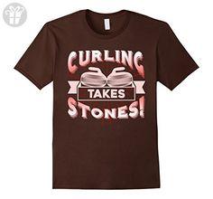 Mens Curling Shirts - Curling Funny T shirts 3XL Brown - Funny shirts (*Amazon Partner-Link)