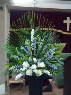 Palm suday Funeral Floral Arrangements, Tropical Floral Arrangements, Church Flower Arrangements, Altar Flowers, Church Flowers, Flower Meanings, Sympathy Flowers, Palm Sunday, Florists