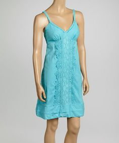 Another great find on #zulily! Teal Lace Silk-Blend Surplice Sleeveless Dress by Aryeh #zulilyfinds