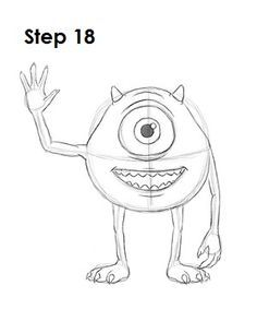 How to draw mike wazowski 18 easy disney drawings, easy cartoon drawings, drawing cartoon Easy Disney Drawings, Disney Character Drawings, Disney Drawings Sketches, Drawing Cartoon Characters, Easy Drawings, Drawing Sketches, Drawing Disney, Disney Characters To Draw, Easy To Draw Disney