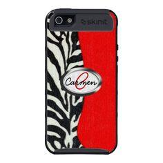 Trendy Zebra Print and Neon Red Monogram iPhone 5 Case