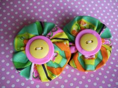 Citrus+Chic+Fabric++YoYo+Barrettes+Hair+by+LittleDollysShop,+$3.50