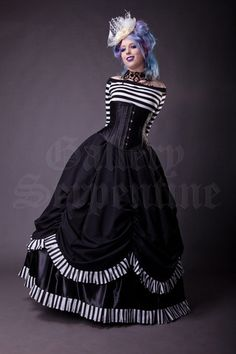 Black and White Stripes Ball Gown skirt, size 10. http://www.galleryserpentine.com/collections/victorian-couture